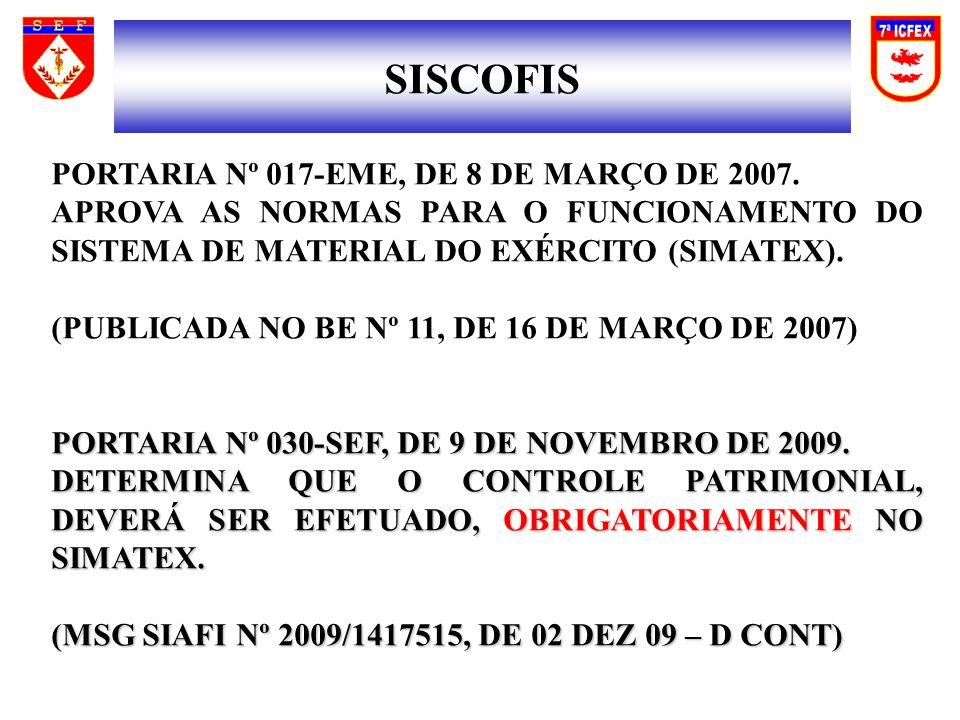 SISCOFIS PORTARIA Nº 017-EME, DE 8 DE MARÇO DE 2007.