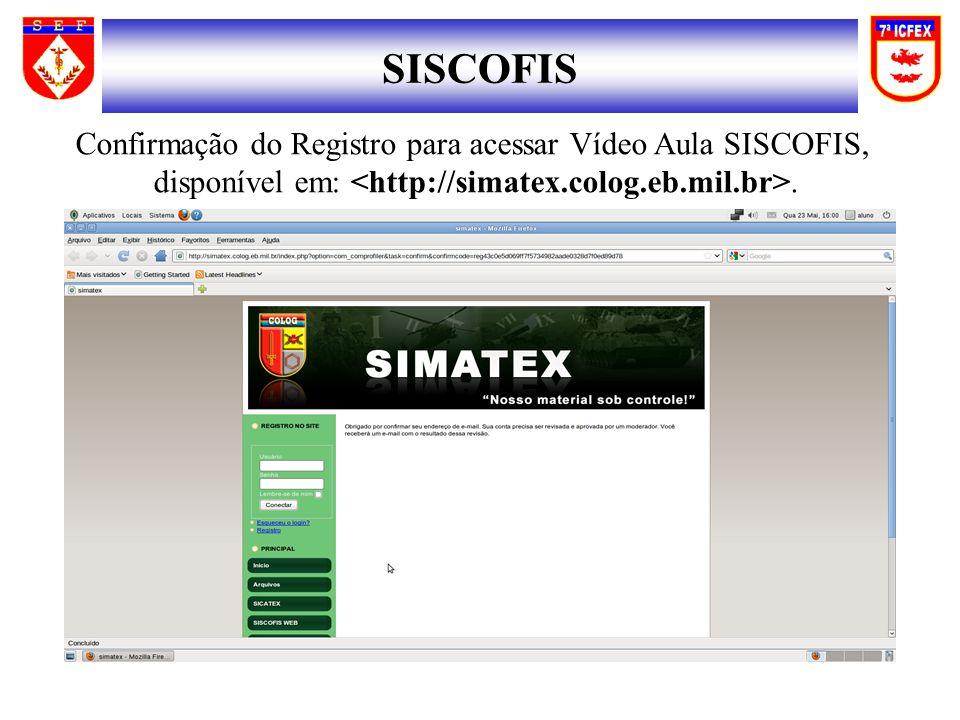 SISCOFIS Confirmação do Registro para acessar Vídeo Aula SISCOFIS,