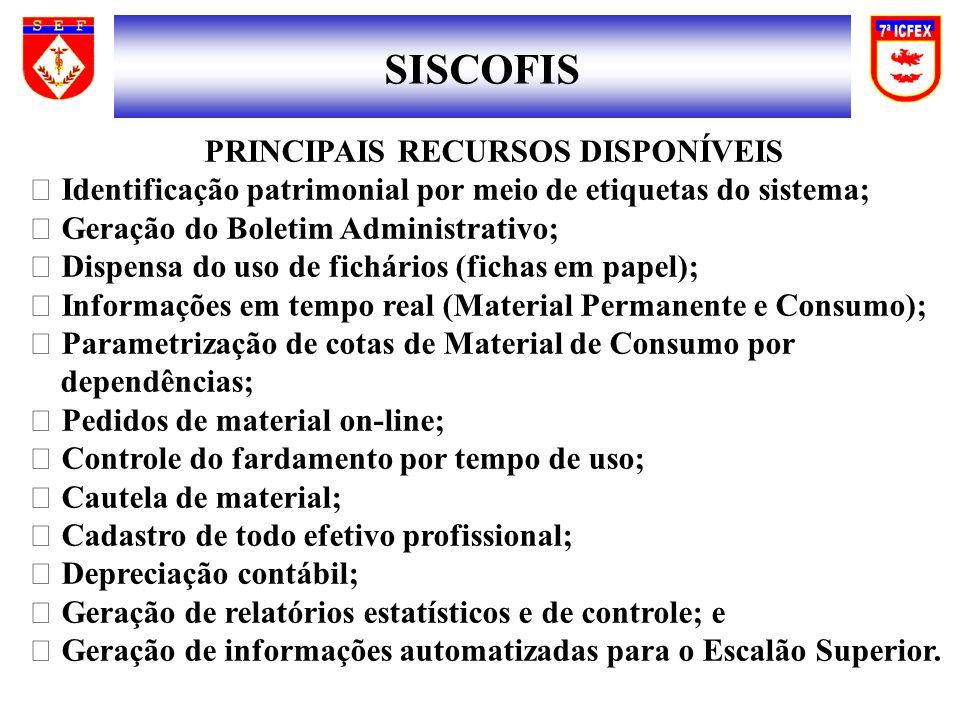 SISCOFIS PRINCIPAIS RECURSOS DISPONÍVEIS
