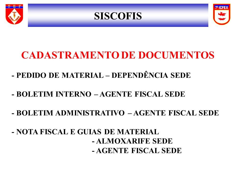 CADASTRAMENTO DE DOCUMENTOS