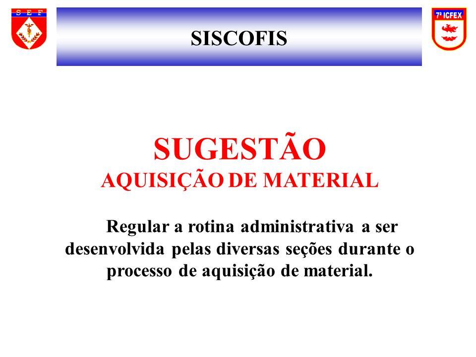 SUGESTÃO SISCOFIS AQUISIÇÃO DE MATERIAL