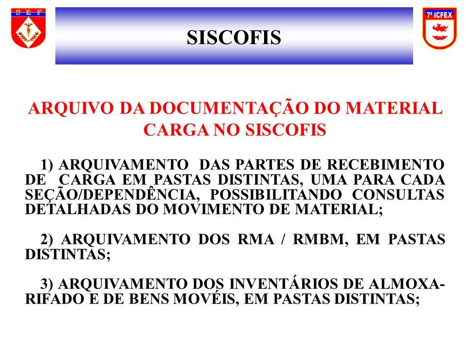 ARQUIVO DA DOCUMENTAÇÃO DO MATERIAL CARGA NO SISCOFIS