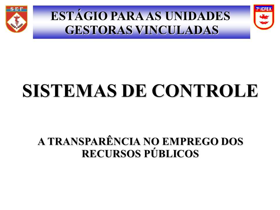 SISTEMAS DE CONTROLE ESTÁGIO PARA AS UNIDADES GESTORAS VINCULADAS