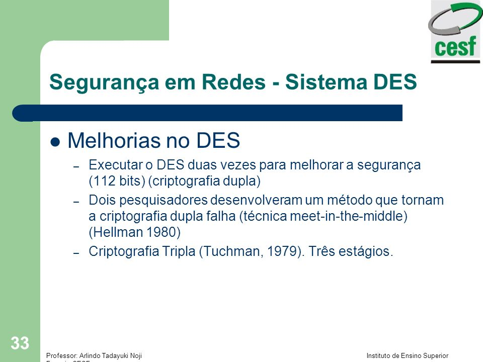 Segurança em Redes - Sistema DES