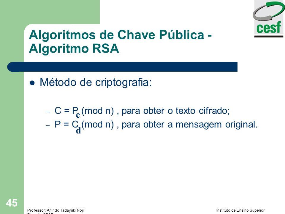 Algoritmos de Chave Pública - Algoritmo RSA