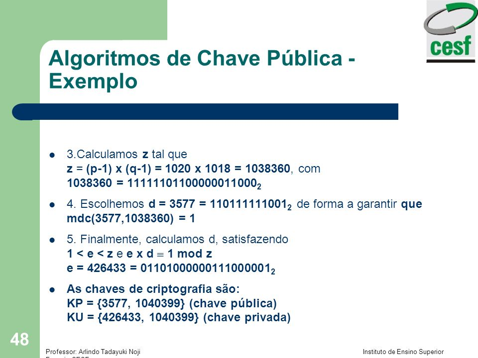 Algoritmos de Chave Pública - Exemplo
