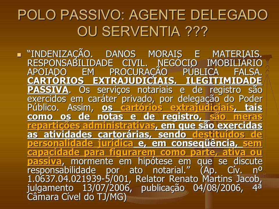 POLO PASSIVO: AGENTE DELEGADO OU SERVENTIA