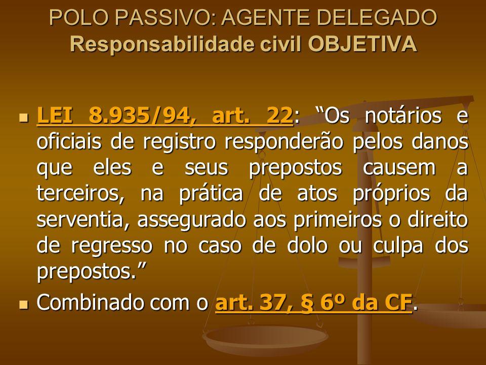 POLO PASSIVO: AGENTE DELEGADO Responsabilidade civil OBJETIVA