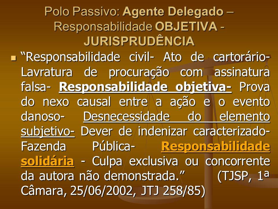 Polo Passivo: Agente Delegado – Responsabilidade OBJETIVA - JURISPRUDÊNCIA