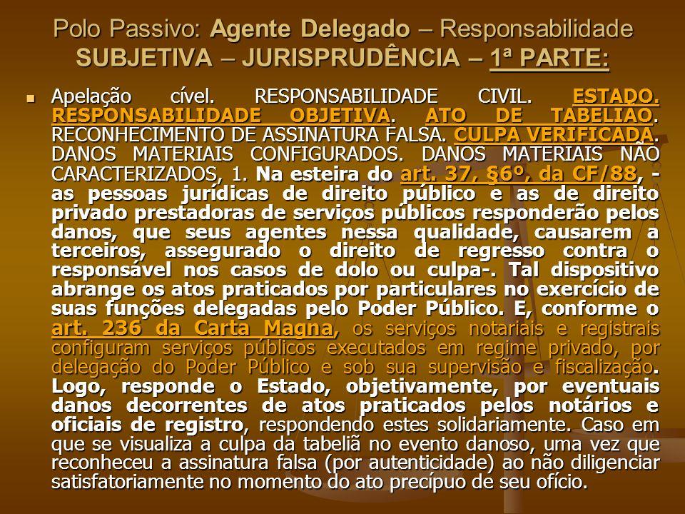Polo Passivo: Agente Delegado – Responsabilidade SUBJETIVA – JURISPRUDÊNCIA – 1ª PARTE: