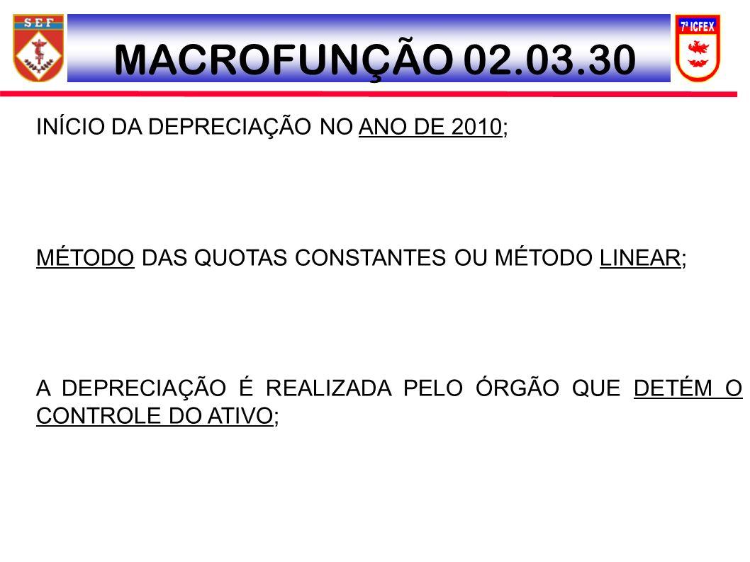 MACROFUNÇÃO 02.03.30 INÍCIO DA DEPRECIAÇÃO NO ANO DE 2010;
