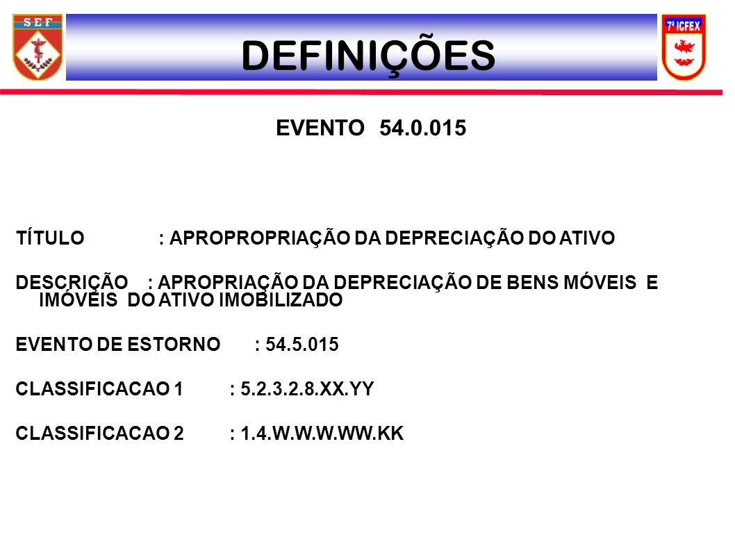 DEFINIÇÕES EVENTO 54.0.015. TÍTULO : APROPROPRIAÇÃO DA DEPRECIAÇÃO DO ATIVO.