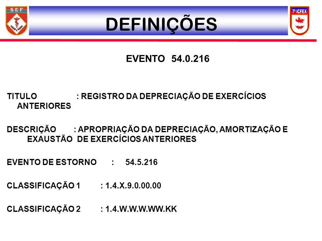 DEFINIÇÕES EVENTO 54.0.216. TITULO : REGISTRO DA DEPRECIAÇÃO DE EXERCÍCIOS ANTERIORES.