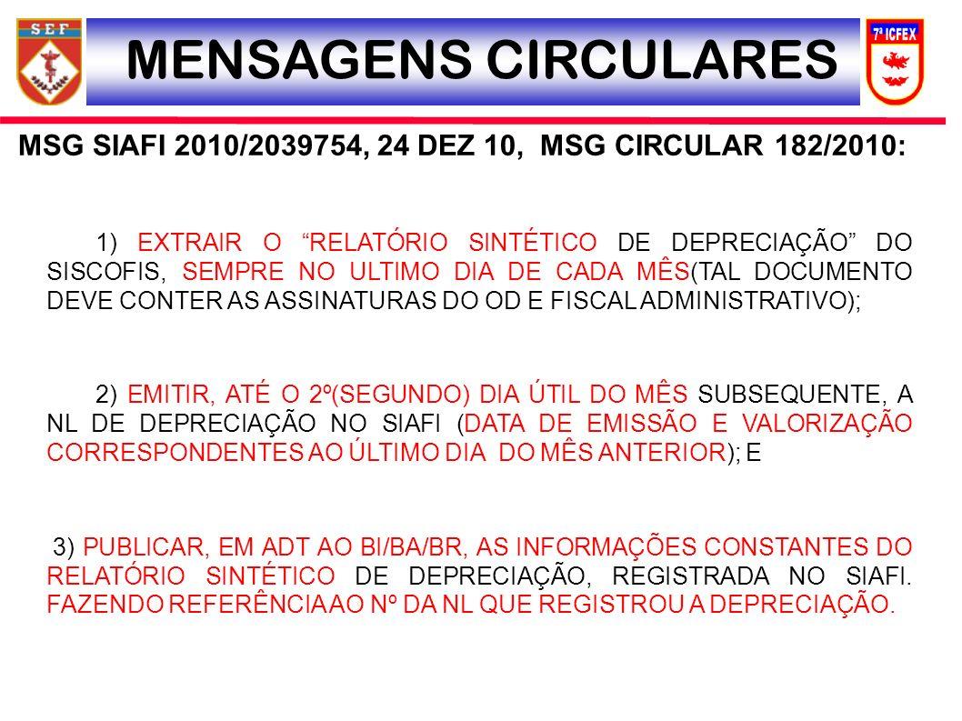 MSG SIAFI 2010/2039754, 24 DEZ 10, MSG CIRCULAR 182/2010: