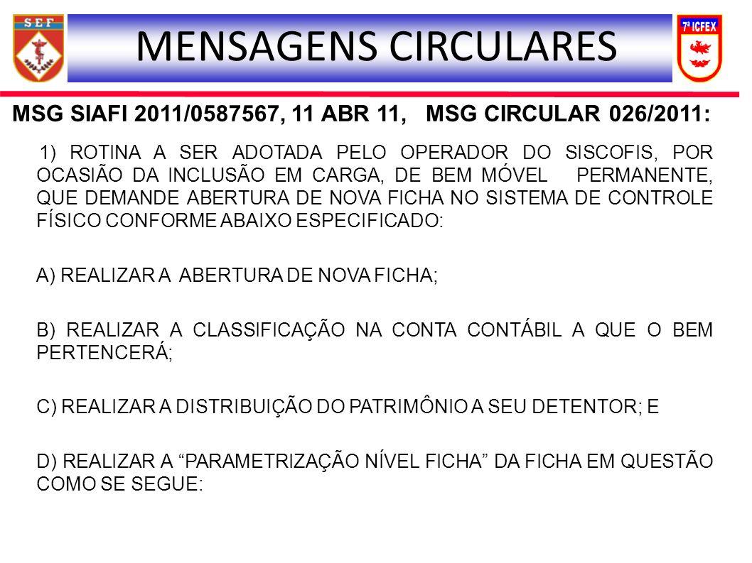 MSG SIAFI 2011/0587567, 11 ABR 11, MSG CIRCULAR 026/2011: