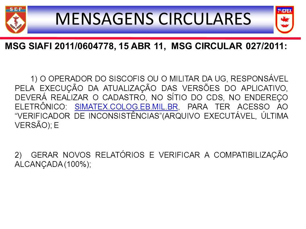 MSG SIAFI 2011/0604778, 15 ABR 11, MSG CIRCULAR 027/2011: