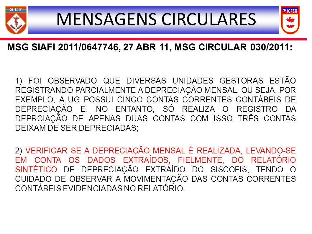 MSG SIAFI 2011/0647746, 27 ABR 11, MSG CIRCULAR 030/2011: