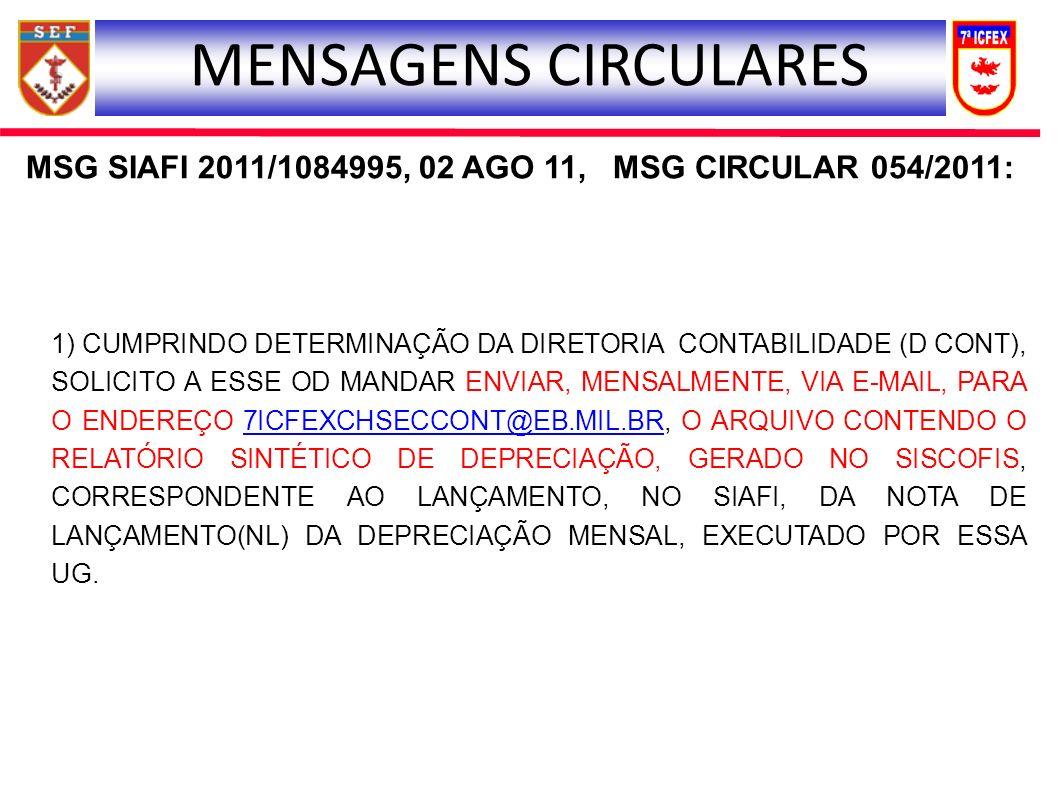 MSG SIAFI 2011/1084995, 02 AGO 11, MSG CIRCULAR 054/2011: