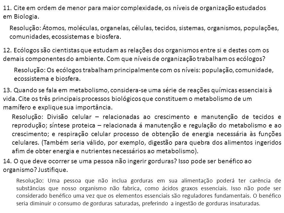 11. Cite em ordem de menor para maior complexidade, os níveis de organização estudados em Biologia.