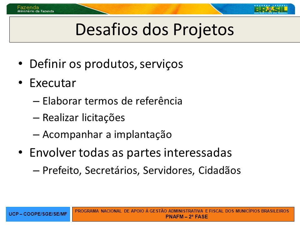 Desafios dos Projetos Definir os produtos, serviços Executar