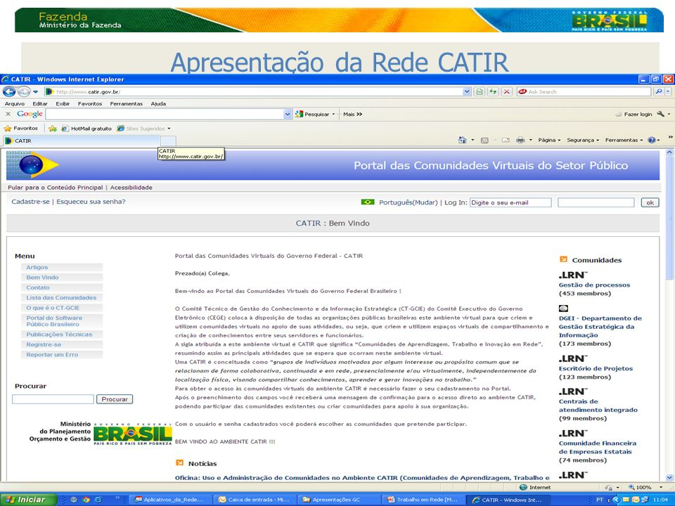 Apresentação da Rede CATIR