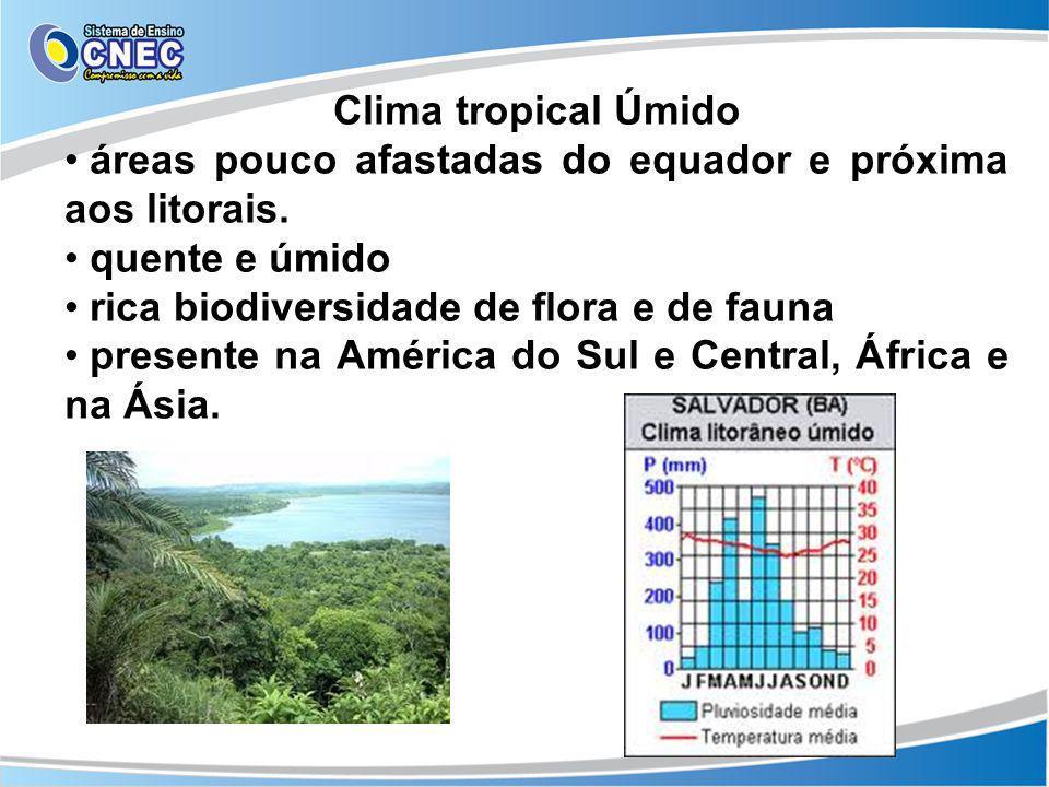 Clima tropical Úmidoáreas pouco afastadas do equador e próxima aos litorais. quente e úmido. rica biodiversidade de flora e de fauna.