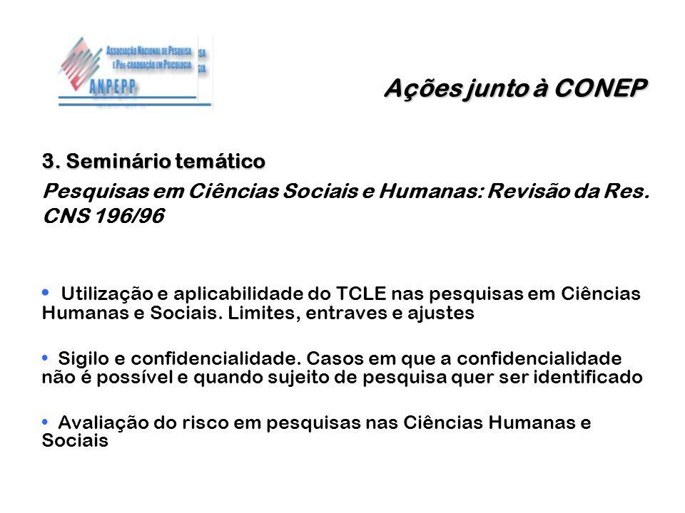Ações junto à CONEP 3. Seminário temático. Pesquisas em Ciências Sociais e Humanas: Revisão da Res. CNS 196/96.