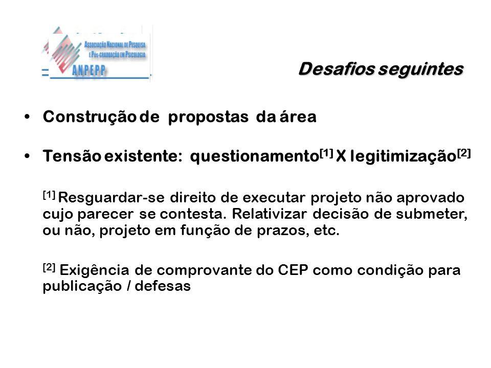 Desafios seguintes Construção de propostas da área