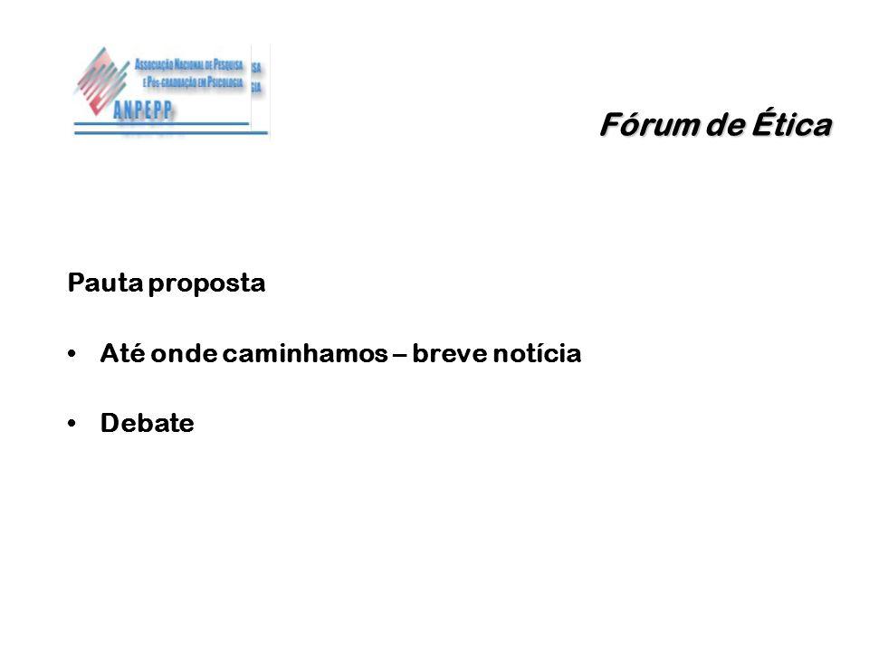 Fórum de Ética Pauta proposta Até onde caminhamos – breve notícia