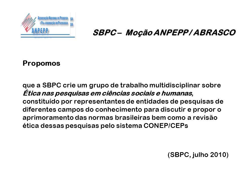 SBPC – Moção ANPEPP / ABRASCO
