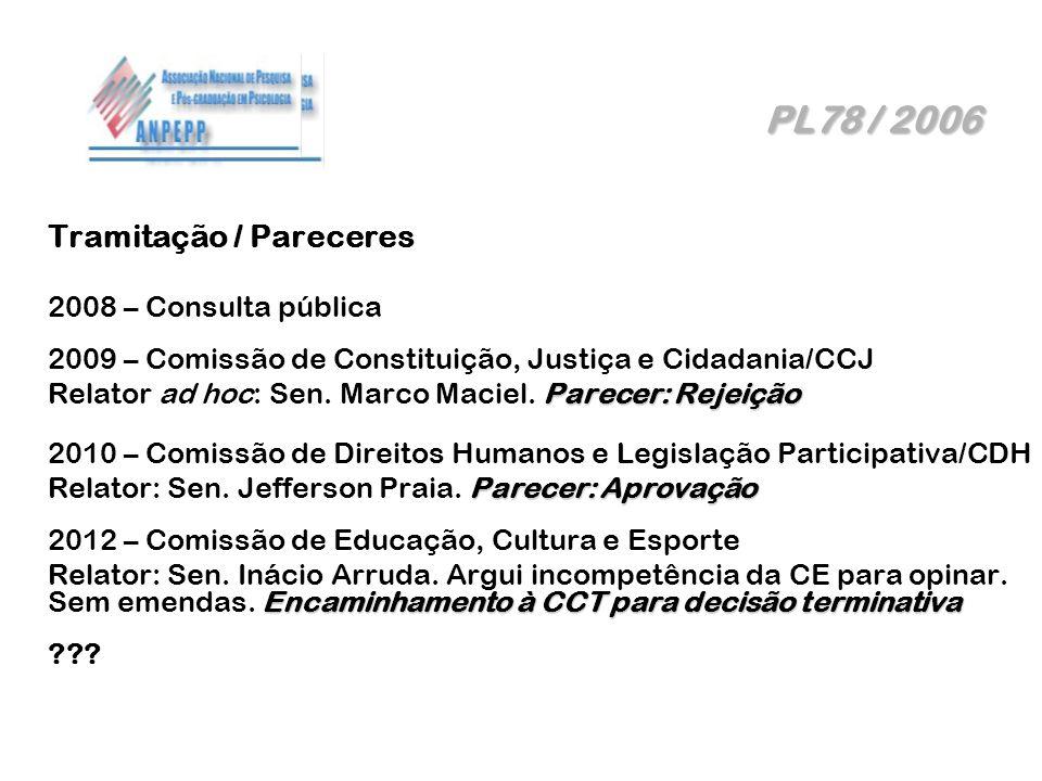 PL78 / 2006 Tramitação / Pareceres 2008 – Consulta pública
