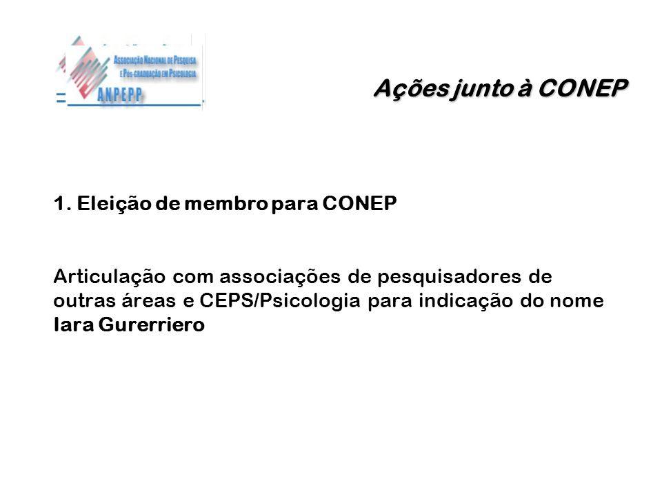 Ações junto à CONEP 1. Eleição de membro para CONEP