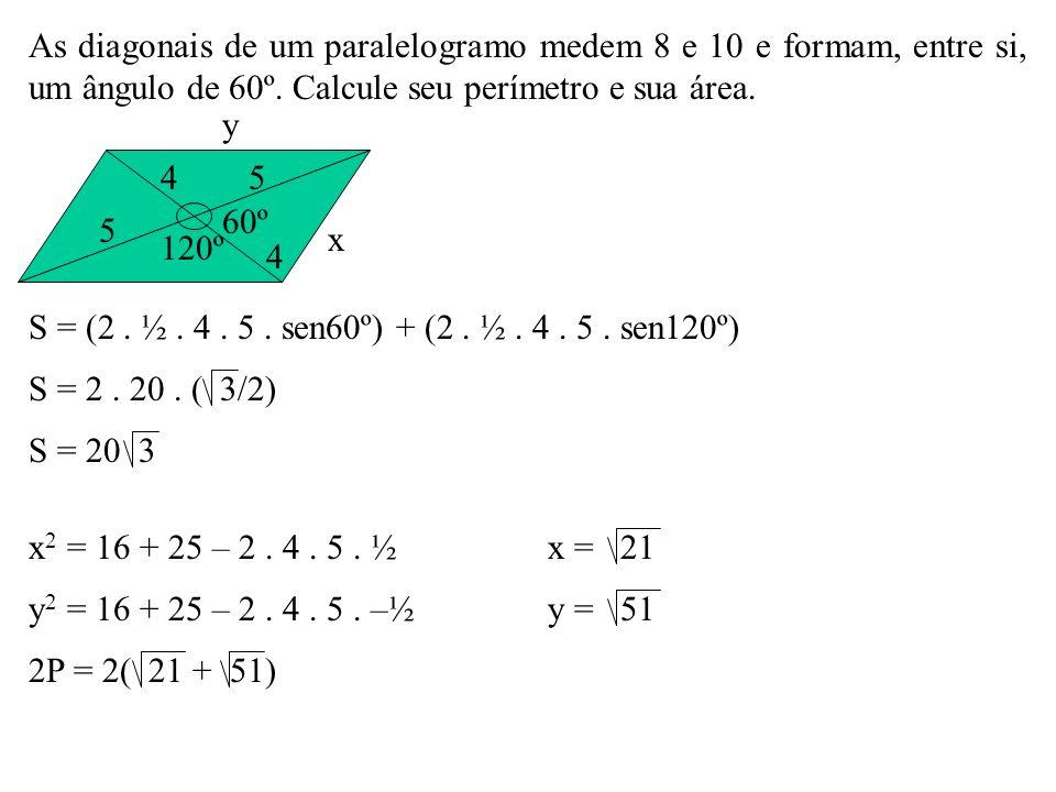 As diagonais de um paralelogramo medem 8 e 10 e formam, entre si, um ângulo de 60º. Calcule seu perímetro e sua área.