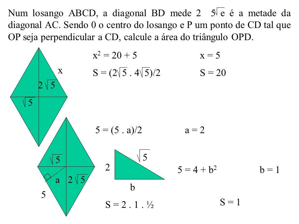 Num losango ABCD, a diagonal BD mede 2 5 e é a metade da diagonal AC