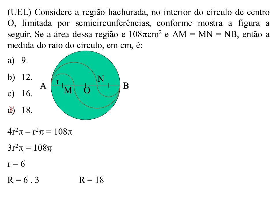 (UEL) Considere a região hachurada, no interior do círculo de centro O, limitada por semicircunferências, conforme mostra a figura a seguir. Se a área dessa região e 108cm2 e AM = MN = NB, então a medida do raio do círculo, em cm, é: