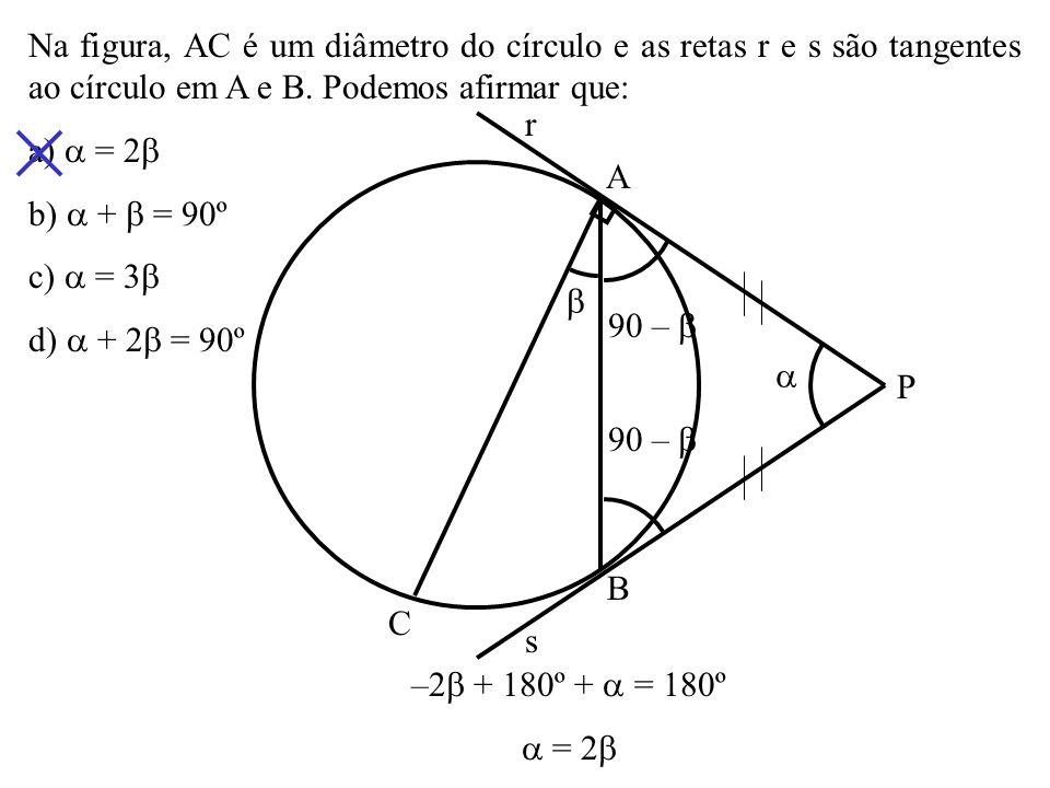 Na figura, AC é um diâmetro do círculo e as retas r e s são tangentes ao círculo em A e B. Podemos afirmar que: