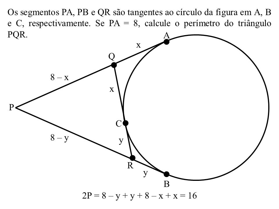 Os segmentos PA, PB e QR são tangentes ao círculo da figura em A, B e C, respectivamente. Se PA = 8, calcule o perímetro do triângulo PQR.