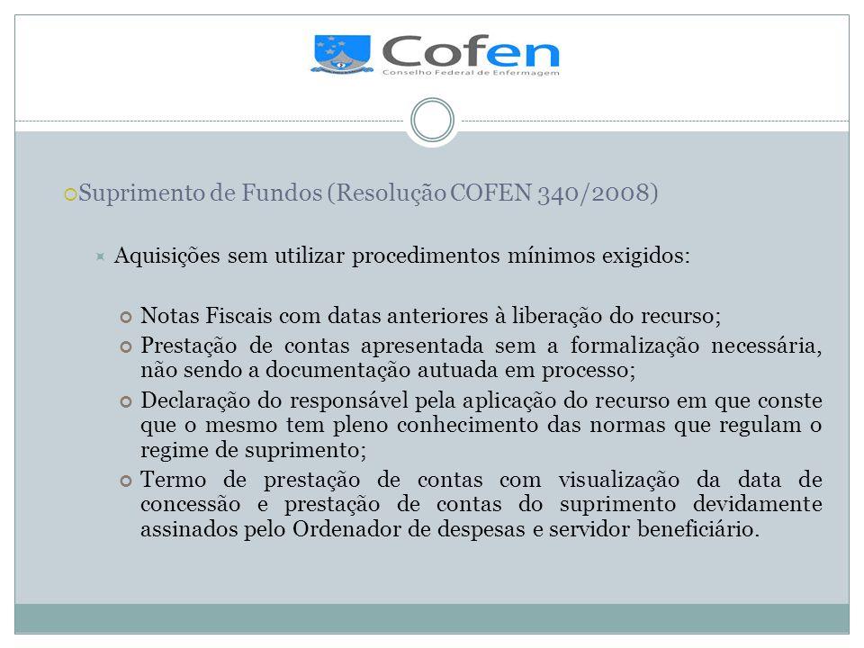 . Suprimento de Fundos (Resolução COFEN 340/2008)