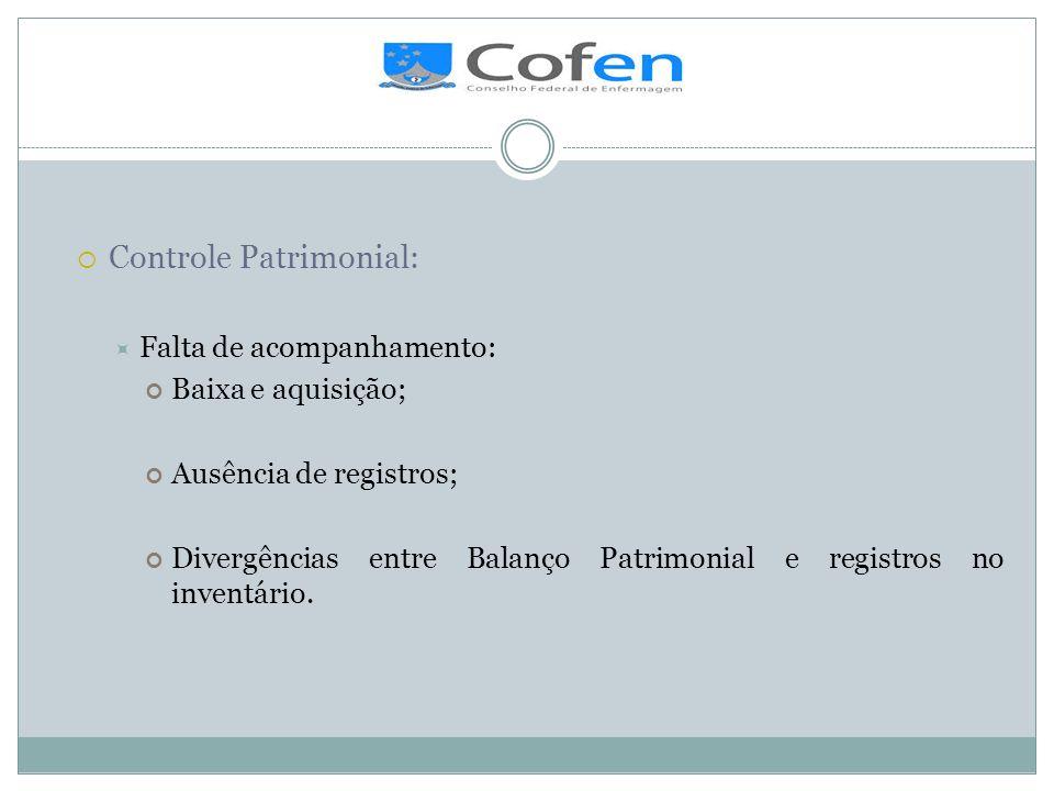 . Controle Patrimonial: Falta de acompanhamento: Baixa e aquisição;