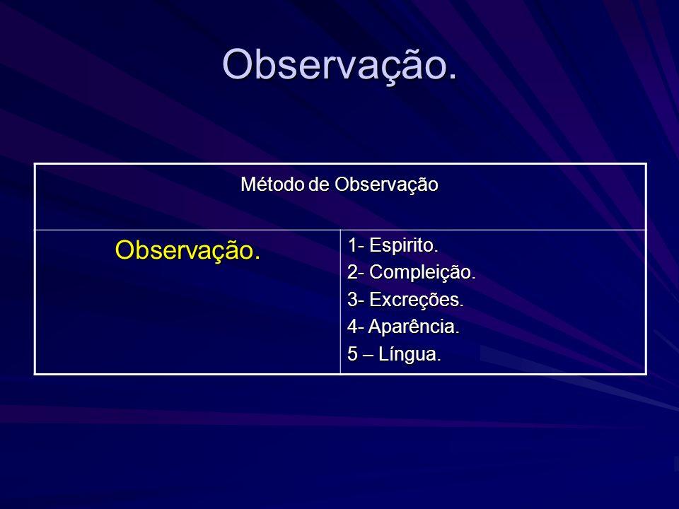 Observação. Observação. 1- Espirito. 2- Compleição. 3- Excreções.