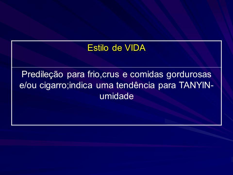 Estilo de VIDAPredileção para frio,crus e comidas gordurosas e/ou cigarro;indica uma tendência para TANYIN-umidade.