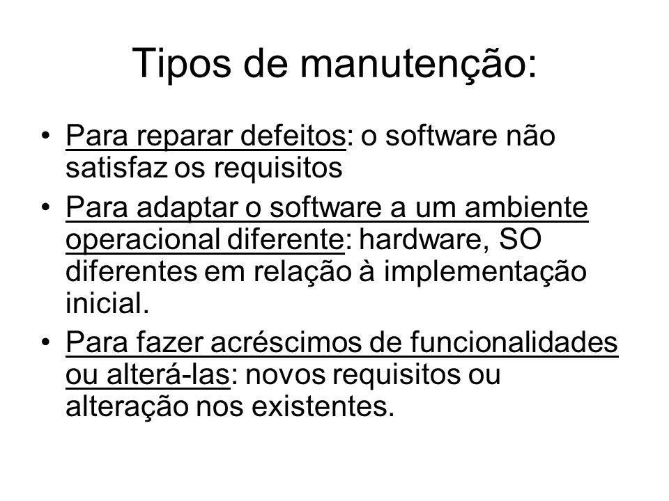 Tipos de manutenção: Para reparar defeitos: o software não satisfaz os requisitos.