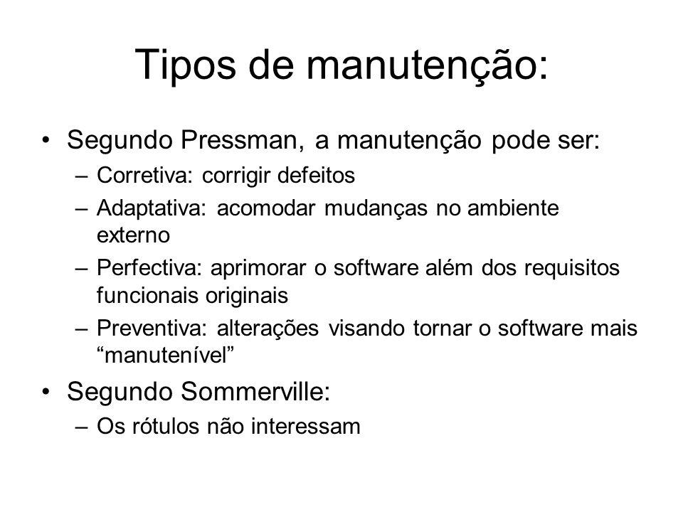 Tipos de manutenção: Segundo Pressman, a manutenção pode ser: