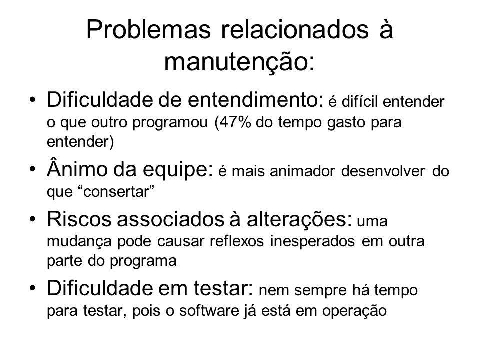 Problemas relacionados à manutenção: