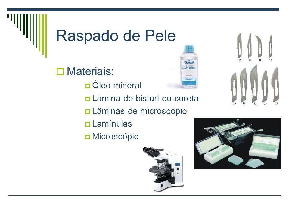 Raspado de Pele Materiais: Óleo mineral Lâmina de bisturi ou cureta