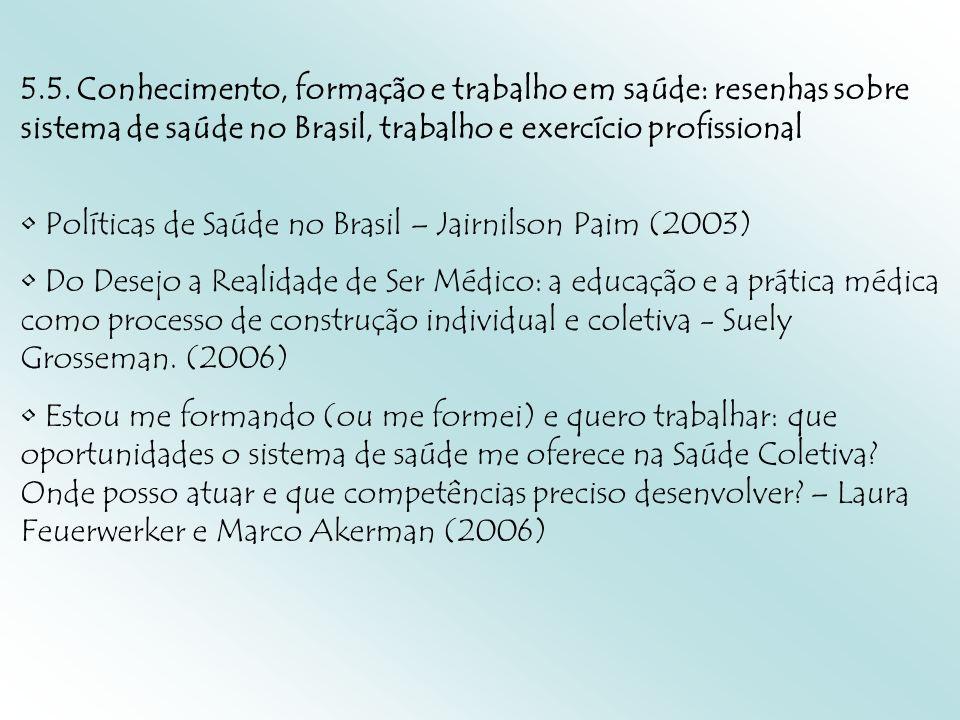 5.5. Conhecimento, formação e trabalho em saúde: resenhas sobre sistema de saúde no Brasil, trabalho e exercício profissional