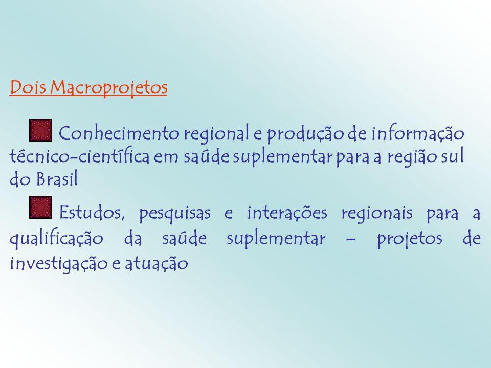 Dois MacroprojetosConhecimento regional e produção de informação técnico-científica em saúde suplementar para a região sul do Brasil.