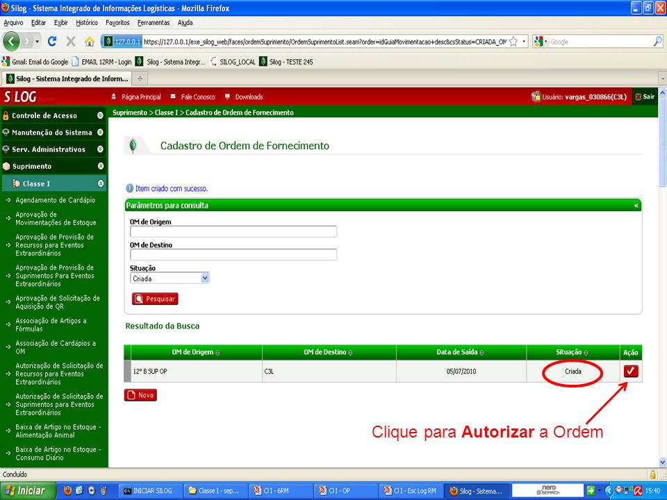 Clique para Autorizar a Ordem