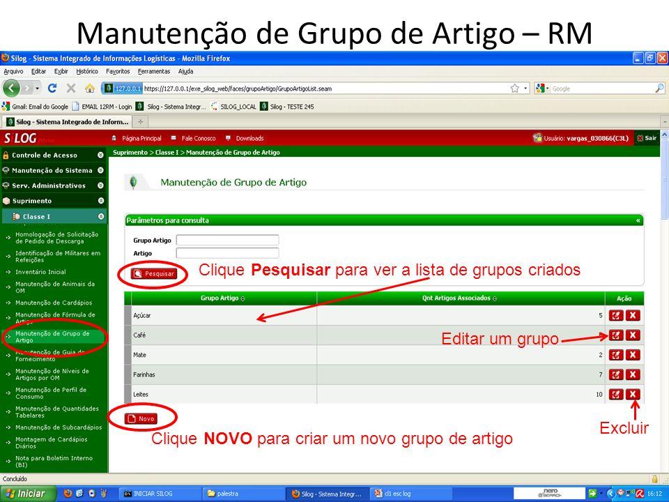 Manutenção de Grupo de Artigo – RM