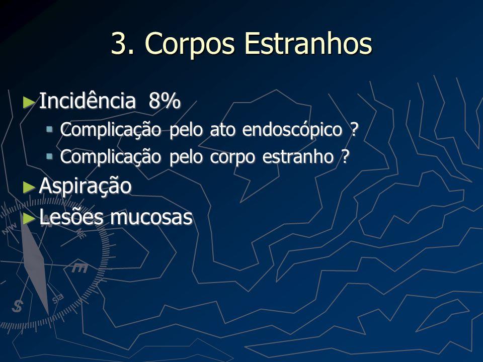 3. Corpos Estranhos Incidência 8% Aspiração Lesões mucosas